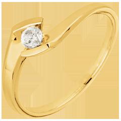 Bague solitaire Nid Précieux - Soir d'été - or jaune - diamant 0.12 carat - 18 carats