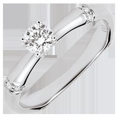 Anello di fidanzamento Giungla Sacra - diamante 0.2 carati - oro bianco 9 carati