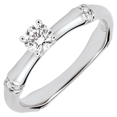 Anillo de compromiso jungla Sagrada - diamante 0,2 quilates - oro blanco 9 quilates