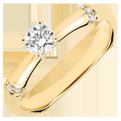 Anello di fidanzamento Giungla Sacra - diamante 0.2 carati - oro giallo 9 carati