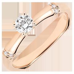 Anello di fidanzamento Giungla Sacra - diamante 0.2 carati - oro rosa 9 carati