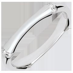 Obrączka Święta Dżungla - Diamenty 3 mm - złoto białe 18-karatowe
