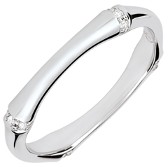Fede Nuziale Giungla Sacra - Multidiamanti 3mm - oro bianco 9 carati