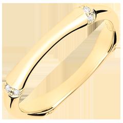 Trauring Heiliger Urwald - Diamantenvielfalt 3 mm - 18 Karat Gelbgold