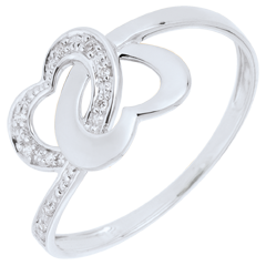 Anello Cuori legati oro bianco