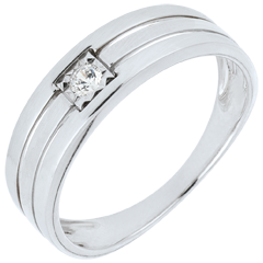 Bague Solitaire or blanc Triple rangs