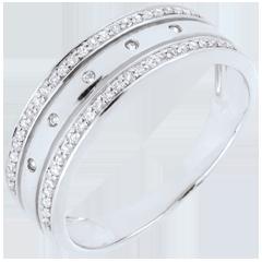 Anillo Hada - Corona de Estrellas - gran modelo - oro blanco, diamantes - 18 quilates