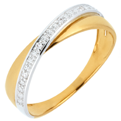 Alliance Saturne Duo - diamants - or jaune et or blanc - 18 carats