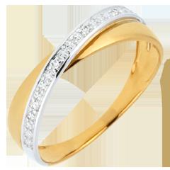 Alliance Saturne Duo - diamants - or jaune et or blanc - 9 carats