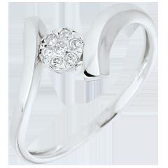 Bague solitaire Nid Précieux - Pépite d'Amour - or blanc - 9 carats