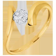 Bague solitaire Nid Précieux - Pépite d'Amour - or jaune - 9 carats