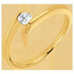 Bague solitaire Princesse étoile or jaune - diamant 0.15 carat