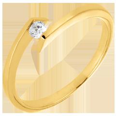 Anillo solitario Brillo Eterno - Princesa estrella - oro amarillo - diamante 0.08 quilates - 9 quilates