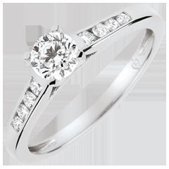 Anillo de compromiso solitario Alteza - diamante 0.4 quilates - oro blanco 9 quilates
