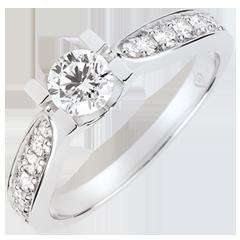 Anillo de compromiso solitario Condesa oro blanco - Diamante de 0.4 quilates - oro blanco de 9 quilates