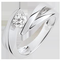 Solitario Nido Prezioso - Ondina - diamante: 0.4 carati - oro bianco 9 carati