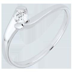 Anello solitario Nido Prezioso - Passione Eterna - oro bianco - 0.14 carati - 9 carati