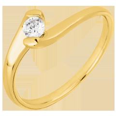 Anello solitario Nido Prezioso - Passione Eterna - oro giallo - 0.14 carato - 9 carati