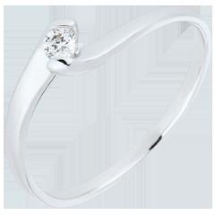 Anello Solitario Nido Prezioso - Passione eterna - oro bianco - 0.08 carato - 18 carati