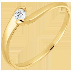 Anello solitario Nido Prezioso - Passione eterna - oro giallo - 0.08 carato - 9 carati