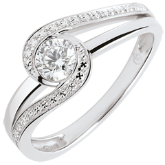 Anillo de compromiso Brillo Eterno - Preciosa - diamante 0.3 quilates - oro blanco de 9 quilates