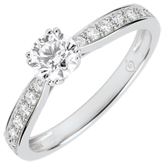 Anillo solitario Garlane 8 garras - diamante de 0.4 quilates - oro blanco de 9 quilates