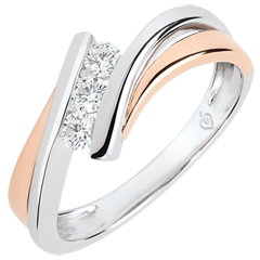 Bague de fian�ailles Nid Pr�cieux - Trilogie diamant grand mod�le - or rose et or blanc 18 carats