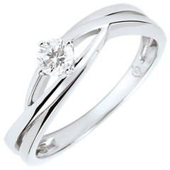 Anillo solitario Brillo Eterno - Dova - diamante de 0.15 quilates - oro blanco de 9 quilates