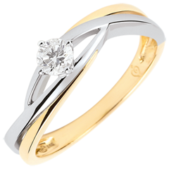 Anello solitario Nido Prezioso - Daria - diamante 0.15 carati -oro bianco e giallo 9 carati