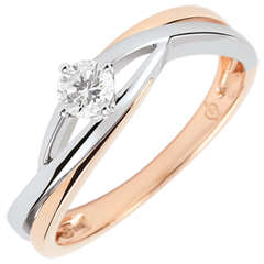 Anello solitario Nido Prezioso - Daria - diamante 0.15 carati - oro bianco e rosa 18 carati