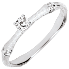 Anillo de compromiso jungla Sagrada - diamante 0,09 quilates - oro blanco rugoso 9 quilates
