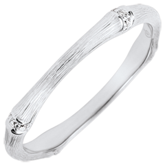 Alliance Jungle Sacrée - Multi diamants 2 mm - or blanc brossé 9 carats