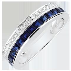 Pierścionek Konstelacja - Zodiak - Mały model - niebieskie szafiry i diamenty - złoto białe 18-karatowe