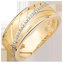 Pierścionek Palma - szczotkowane złoto żółte 18-karatowe i diamenty