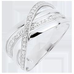 Anello Saturno Quadri - oro bianco - diamanti - 9 carati