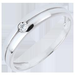 Bague Edenité or blanc et diamant - 0.022 carat