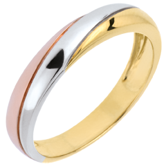Saturn Trilogy Wedding Ring - three golds - 9 carat