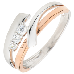 Anello di fidanzamenti Nido Prezioso - Trilogia variazione - oro rosa - oro bianco - 3 diamanti - 9 carati