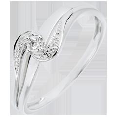 Anello Solitario accompagnato Nido Prezioso - Sofia - oro bianco - diamante 0.013 carati - 9 carati