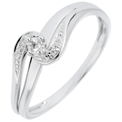 Anillo Solitario acompañado Nido Precioso - Sofía-  oro blanco - diamante 0.013 quilates - 9 quilates