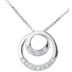 Collier Zephir or blanc et diamant - 45cm