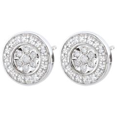 Boucles d'oreilles Elsa - 22 diamants - or blanc 9 carats