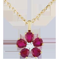 Pendentif Maria Flora - rubis - or jaune 9 carats