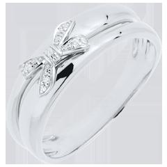 Anello Fiocco dell'Eden oro bianco