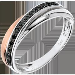 Anneau Saturne Diamant - diamants noirs, or rose et or blanc - 18 carats