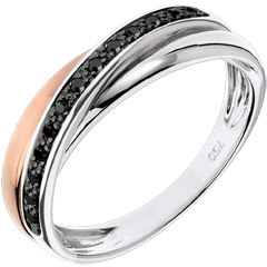 Anillo Saturno diamante - diamantes negros, oro rosa y oro blanco - 9 quilates