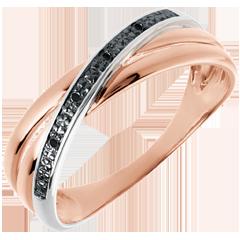 Anello Saturno Duetto variazione - oro rosa e diamanti neri - 18 carati