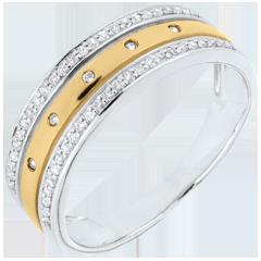 Anneau Féérie - Couronne d'Étoiles - grand modèle - or jaune, or blanc et diamant - 9 carats