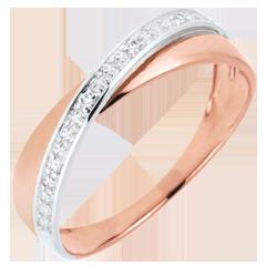Fede Saturno Duetto - diamanti - oro rosa e oro bianco - 18 carati