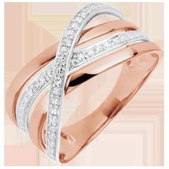 Anello Saturno Quadri - oro rosa - 18 carati